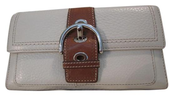 Coach Coach Leather Wallet/Clutch in Cream/Brown