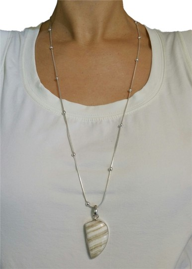 Other Agate Silver Pendant with Silver Chain Necklace
