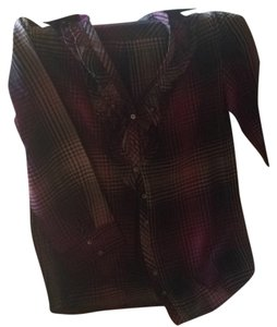 Joie Button Down Shirt Purple, black, taupe