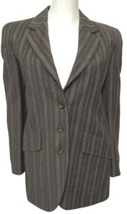 marianno rubinacci Striped 100% Wool Designer Italy Jacket Women Tailored Lined Mark Shale Small S 4 6 38 Fabric Italian Fashion High brown Blazer