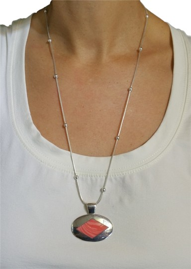 Other Orange Agate Sterling Silver Pendant Necklace, 24in