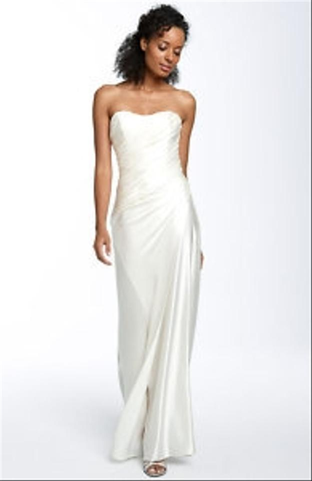Ivory Satin Abs Allen Schwartz Bias Cut Modern Wedding Dress Size 2 ...