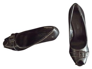 Moda International Buckle Heels Pinup Black Pumps