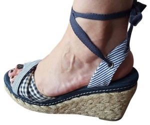 Ankle Wrap Wedge Heels Navy Wedges