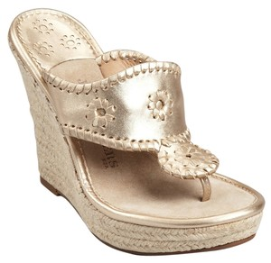 Jack Rogers Marabella Espadrille Silver Champagne Wedges
