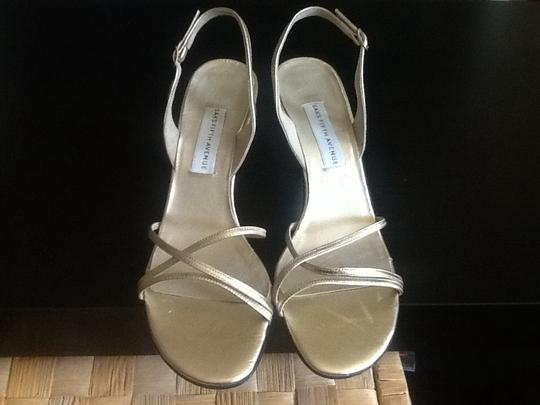 Saks Fifth Avenue Made In Italy Color Leather Gold Sandals