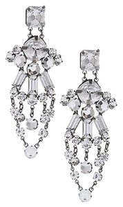 Chico's Chicos Jacelyn Chandelier Earrings Clear Round Square Baguettes Stones