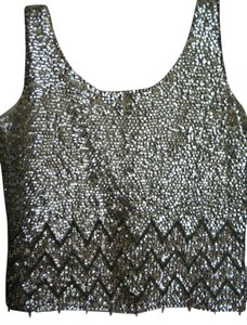 Hand Beaded Vintage 100 Wool Zip Vest Top Gold Hand Beaded