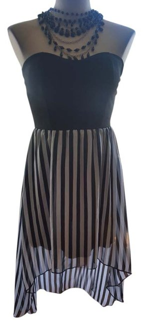 Forever 21 Striped Bustier Sweetheart Hi Lo Dress