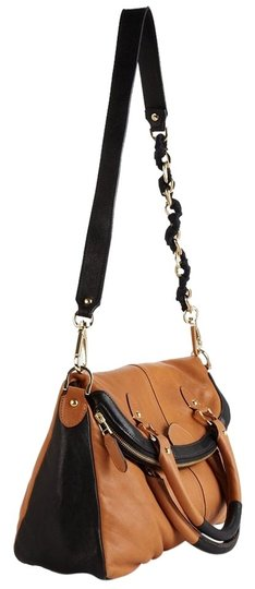 Be&D Chain Color-blocking Leather Gold Hardware Cross Body Bag