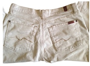7 For All Mankind Corduroy Tall Hip Huggers Boot Cut Pants Cream