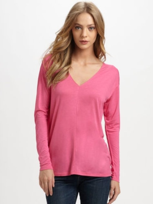 Preload https://item1.tradesy.com/images/vince-women-hot-pink-stretch-jersey-double-v-long-sleeve-top-blouse-v126381606-5933320-0-0.jpg?width=400&height=650