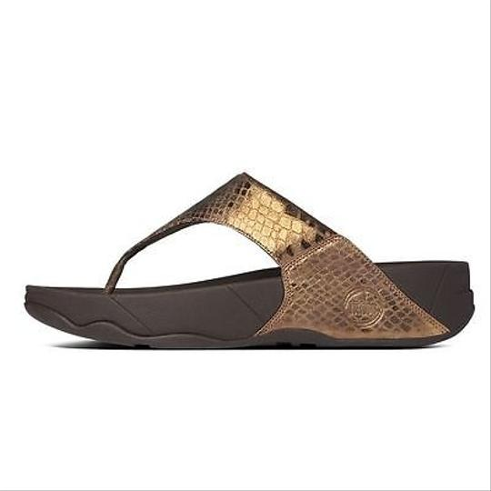 FitFlop Lulu Metallic Snake Womens Thong Flip Flops Bronze Sandals