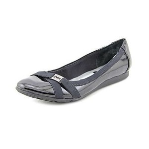 AK Anne Klein Sport Abell Womens Patent Ballet Slip On Loafers Black Flats
