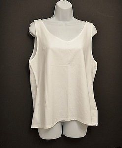 J. Jill J V Neck Sleeveless Top White