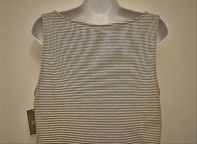 J. Jill White Stripe Vneck Top Green