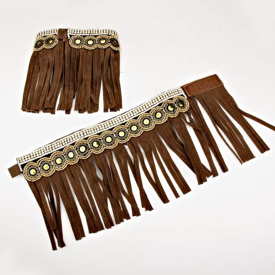 Other Boho Chic Barefoot Moccasins Tribal Ethnic Brown Suede Fringe Ankle Cuffs