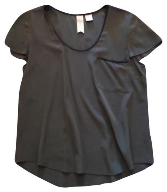 Gemma Top Green with Black Leather Detailing