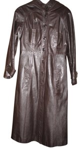 Leather Full Length Hooded Trench Coat