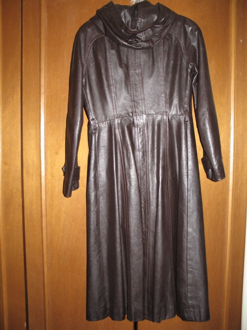 Other Leather Full Length Hooded Trench Coat