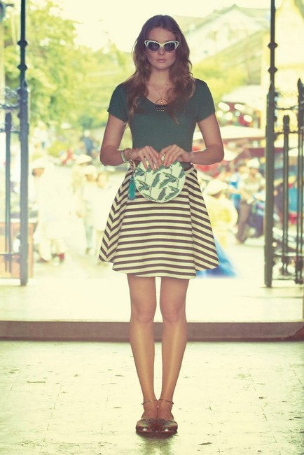 Anthropologie Striped Bold Stripe Swing Mini Skirt black and white