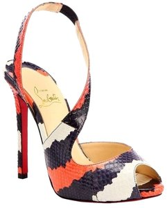 Christian Louboutin Viveka Watersnake Slingback 35 Black, White, Orange Sandals