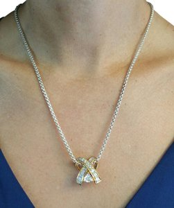 CZS Pendant Chain Necklace With Two Tones Sterling Silver Gold Plated
