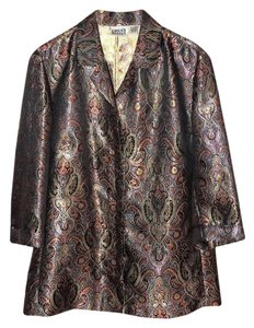 Chico's 3/4 Sleeve Top Metallic Paisley