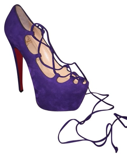 Christian Louboutin Suede Heels Louboutins purple suede Pumps