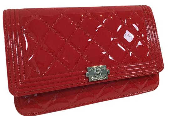 Chanel Quilted Patent Leather Boy Wallet On Chain Flap