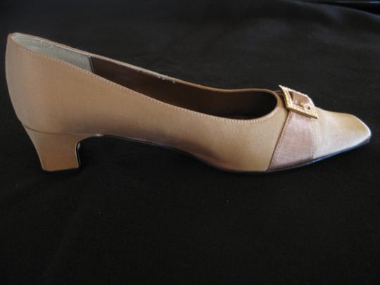 J. Reneé Rhinestone Buckle Taupe Pumps