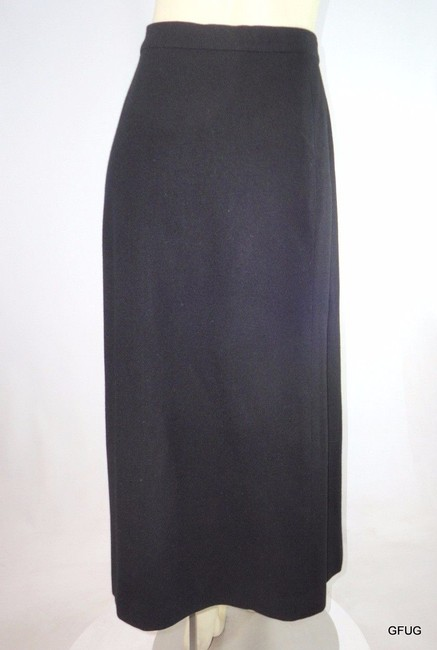 Other Vintage I Magnin 46 Wool Pleated Maxi Classic Retro 50s Skirt Black