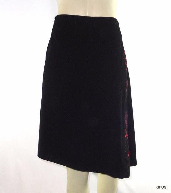 Custo Barcelona Corduroy Pleated Rendez Vous Red China Skirt Black