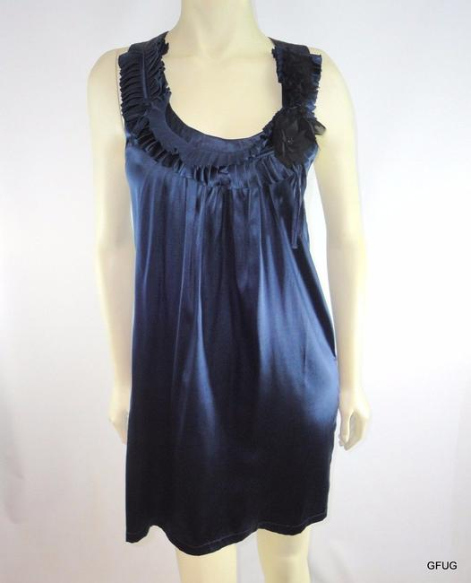 T-Bags Los Angeles short dress Blue Midnight Silk Stretch Shift Slip Pleated Floral Applique on Tradesy