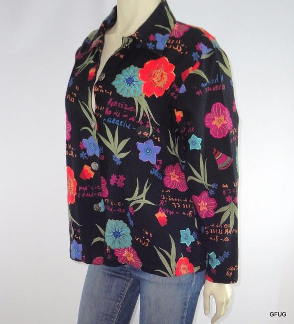 Other Mirasol Canvas Floral Embroidered Beaded Black Jacket