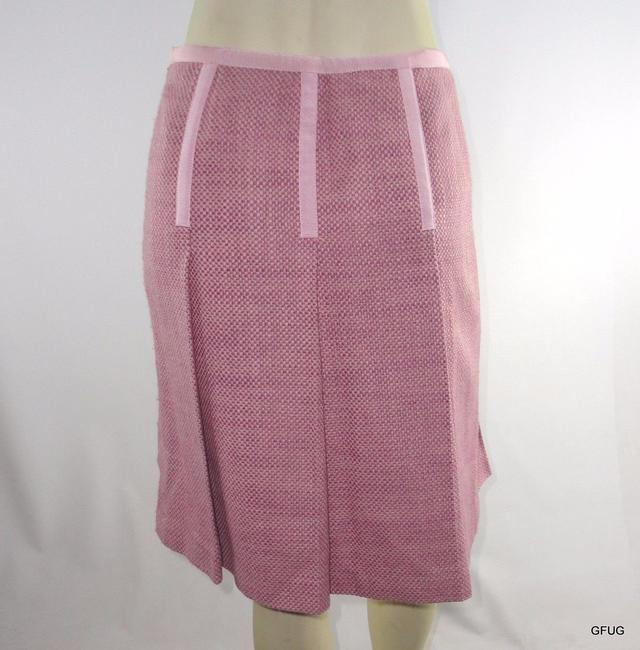 INC International Concepts Pleated Tweed Ribbon Trim Lined Career Skirt Pink