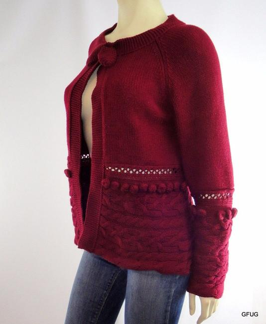 Other Philosophy By Republic Burgundy Collar Cardigan Pom Poms Sweater