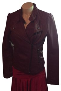 Guess Maroon Leather Jacket