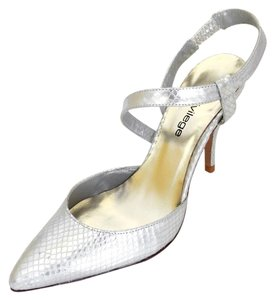 Other Slingback Imported Spain Printed Python Bridal Pointed Toe Covered Heel silver Formal