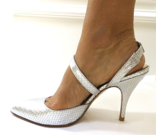 Other Slingback Imported Spain Leather Printed Python Bridal Pointed Toe Covered Heel silver Formal