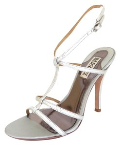 Badgley Mischka Leather Hidden Platform T-strap Covered Heel Leather Sole Silver Sandals
