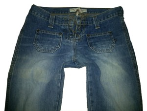 Abercrombie & Fitch Rise Hipster Slit Hippie Groovy Designer Like New Pants Flare Leg Jeans-Dark Rinse