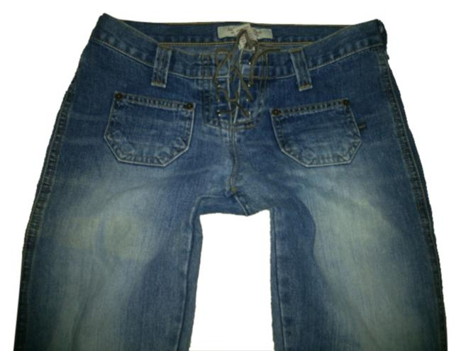 Item - Blue Dark Rinse Like New Low Hipster Tie String Front Flare Leg Jeans Size 24 (0, XS)