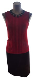 Ann Taylor Pleated Elastic Sleeveless Top Red