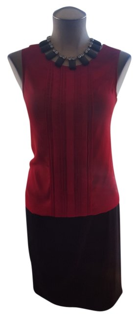 Ann Taylor Pleated Elastic Sleeveless Classic Top Red