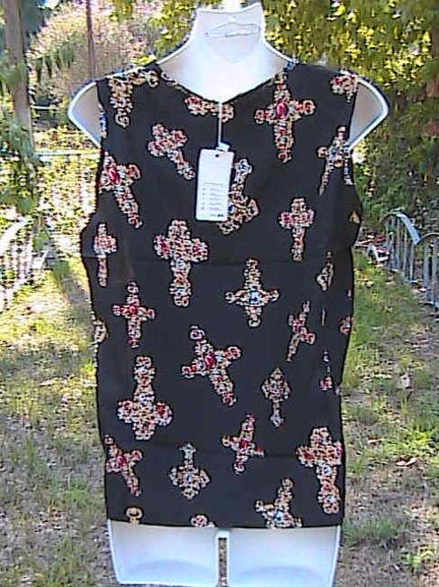 Liva Girl Brand New W Tag By Sleeveless Top Black Cross Floral