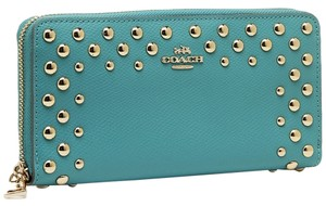 Coach BNWT Coach Studded Wallet Leather Cadet Blue Turquoise F53145