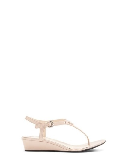 Prada Patent Leather Wedges Beige Thong Logo Nude Sandals
