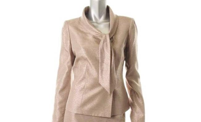 Le Suit Le Suit Wild Spirit Taupe Shimmer Long Sleeves 2PC Skirt Suit Size 8