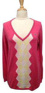 Lacoste Cotton V-neck Argyle Sweater